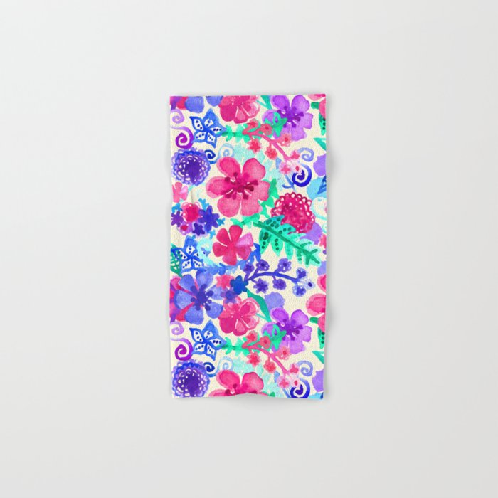 Fresh Watercolor Floral Pattern Hand & Bath Towel