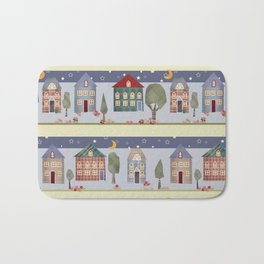 Kids patchwork seamless pattern with houses and trees Bath Mat
