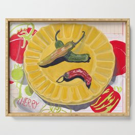 Chilis on a Plate in Gouache Serving Tray