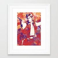 han solo Framed Art Prints featuring Han Solo by Nerdiful Art