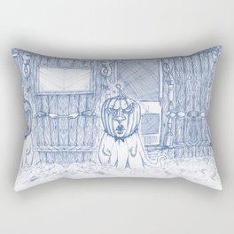 Blue Inhabited Plain Rectangular Pillow
