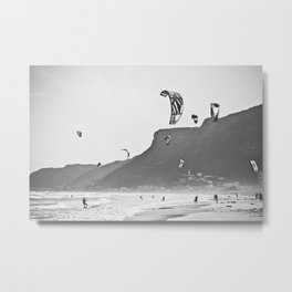 Windsurfers having fun on the Atlantic Ocean Metal Print