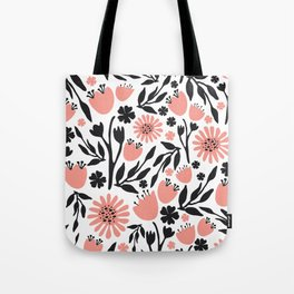 Floral Pattern Dark Gray and Light Coral Tote Bag