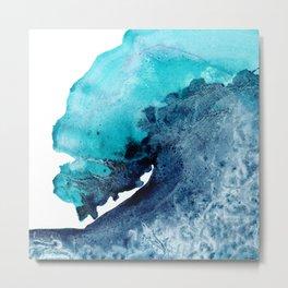 Tidal Wave - Abstract Ocean Watercolor Painting Coastal Art Metal Print