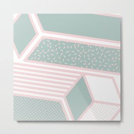 Modern Memphis Illustration - Gemetrical  Retro Art in Pink and Mint -  Mix & Match With Simplicity Metal Print