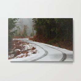 snowy mountain pass Metal Print
