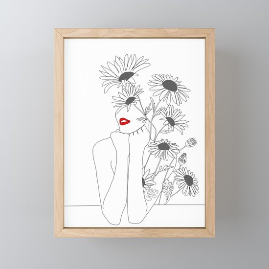 Minimal Line Art Girl with Sunflowers by nadja1
