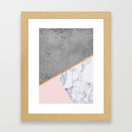Marble Blush Gold gray Geometric Framed Art Print