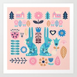 Soft And Sweet Scandinavian Bunny Rabbit Folk Art Art Print