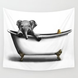 Elephant in Bath Wall Tapestry