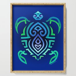 Tribal Turtle Ombre Background Serving Tray