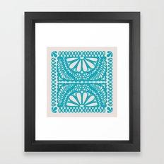 Fiesta de Flores Turquoise Framed Art Print