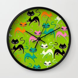 Prancing Kittens on Lime Wall Clock