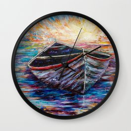 Wooden Boat at Sunrise Wall Clock