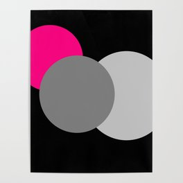 Pink Gray Black : Mod Circles Poster