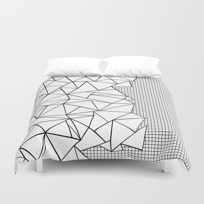 Abstraction Outline Grid on Side White Duvet Cover