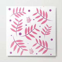Pink Leaves Big Metal Print