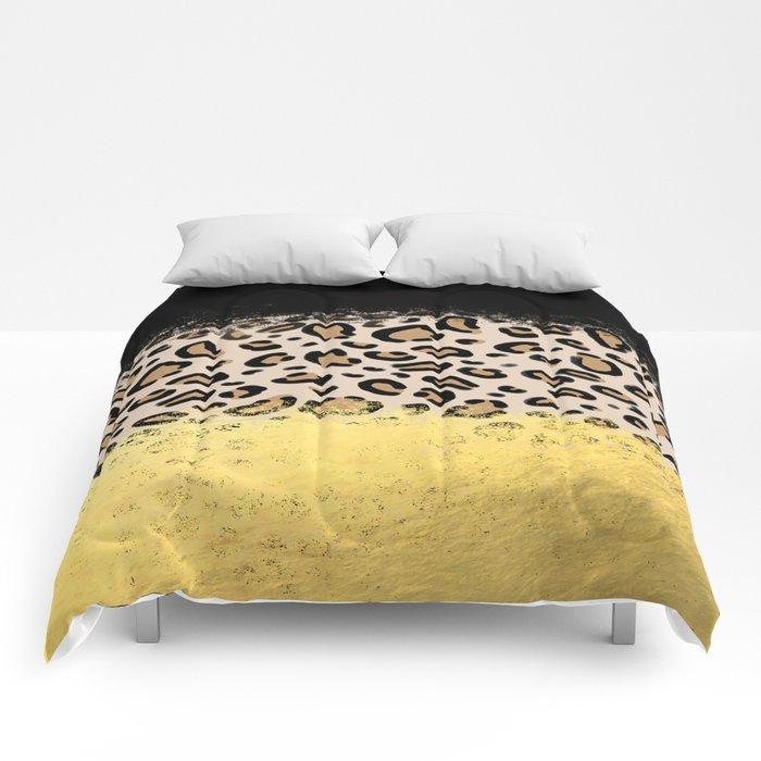 Wilder - black gold foil cheetah print animal pattern spots dots bold modern design sparkle glitter Comforters