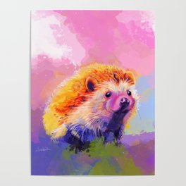 Sweet Hedgehog, cute pink and purple animal painting Poster