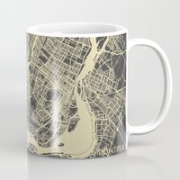 montreal Mugs featuring Montreal Map by Map Map Maps