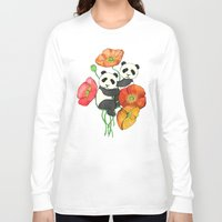 bedding Long Sleeve T-shirts featuring Poppies & Pandas by micklyn