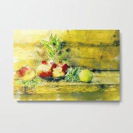 Still Life Apples In Bowl Rustic Watercolour Art Metal Print