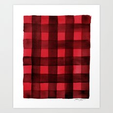 Buffalo Plaid Watercolor in Red Art Print