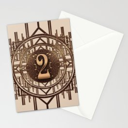 Art Deco Vintage Characters - Number Two Gold 2 Stationery Cards
