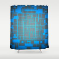 tron Shower Curtains featuring Turquoise Blue & Gray Computer by PureVintageLove