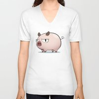 pig V-neck T-shirts featuring Pig by Oinkasaurus