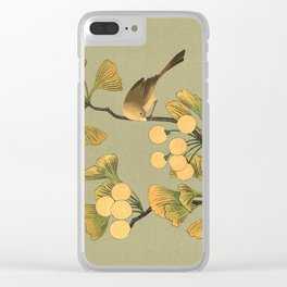 Bird in Ginkgo Tree Clear iPhone Case