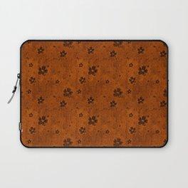 Burnt Orange Grunge Flowers and Hearts Pattern Gift Ideas Laptop Sleeve