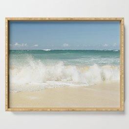 beach love shoreline serenity Serving Tray