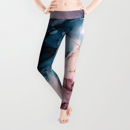 Pastel Plum, Deep Blue, Blush and Gold Abstract Painting Leggings