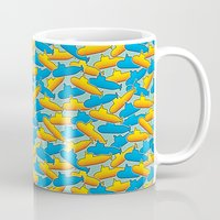 yellow submarine Mugs featuring Yellow & Blue Submarine by thunalab
