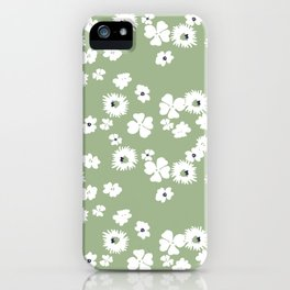 Modern floral on dusty green ground iPhone Case
