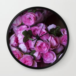 Pink Rose Buds Wall Clock