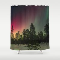 northern lights Shower Curtains featuring Northern Lights  by Limitless Design