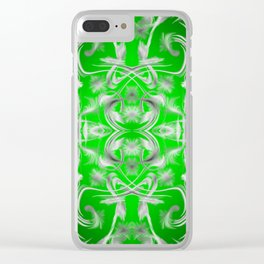 silver and green Digital pattern with circles and fractals artfully colored design for house Clear iPhone Case