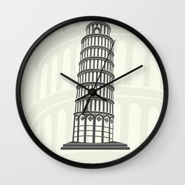 figure leaning tower of Pisa in Italy Wall Clock