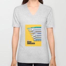 Shinkansen Bullet Train Evolution - Yellow Unisex V-Neck