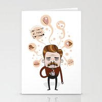 ron swanson Stationery Cards featuring Ron Swanson by Cody Bond