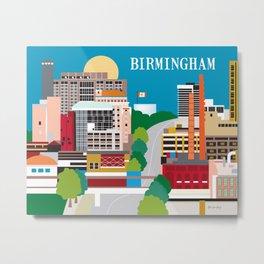 Birmingham, Alabama - Skyline Illustration by Loose Petals Metal Print