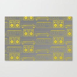 70's Record Player, Amplifier and Speakers in yellow and grey Canvas Print