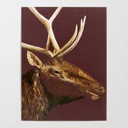 Big Bull Elk Profile Poster