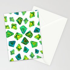 Green beautiful hand drawn gems. Stationery Cards