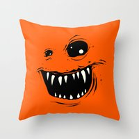 monty python Throw Pillows featuring Monty by Nicholas Ely