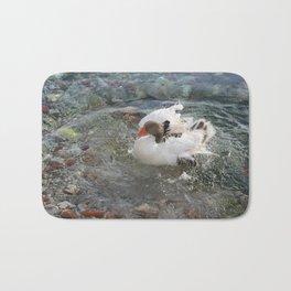 Duck Splashing Water Creating Ripples on Riverbank Bath Mat