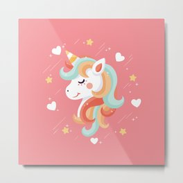 Cutest Unicorn Ever - Pink Metal Print