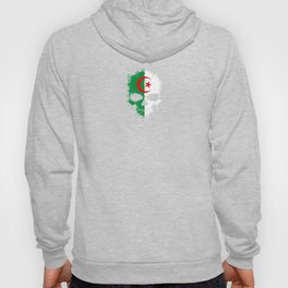 Flag of Algeria on a Chaotic Splatter Skull Hoody